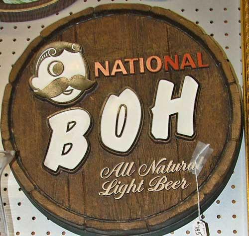 National Boh advertising sign - round barrel