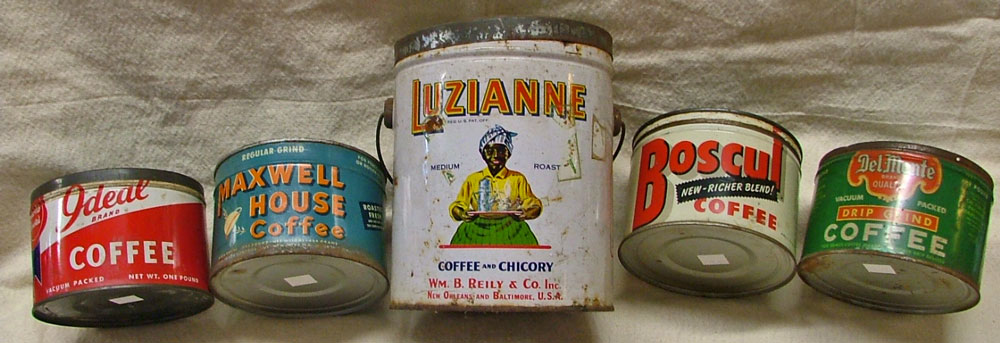 a display of antique coffee tins