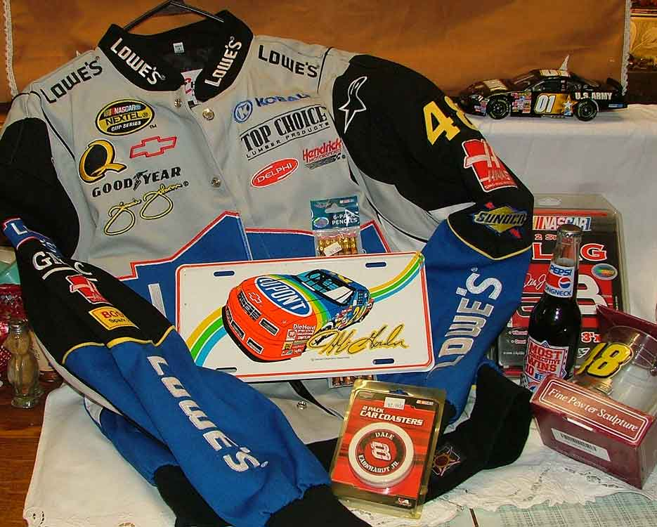 Nascar Collectibles available at Bahoukas Antiques in Havre de Grace including Jimmy Johnson jacket and beer mug, Jeff Gordon License Plate, Richard Petty Pepsi (never opened), Nascar Pencils #20 Tony Stewart, Dale Jr flag #8 and coasters and #01 Army/American Hero model car