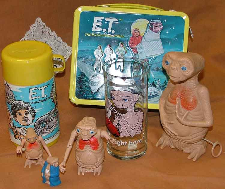 ET lunch box and thermos, glass, and figures in several different sizes all at Bahoukas in Havre de Grace