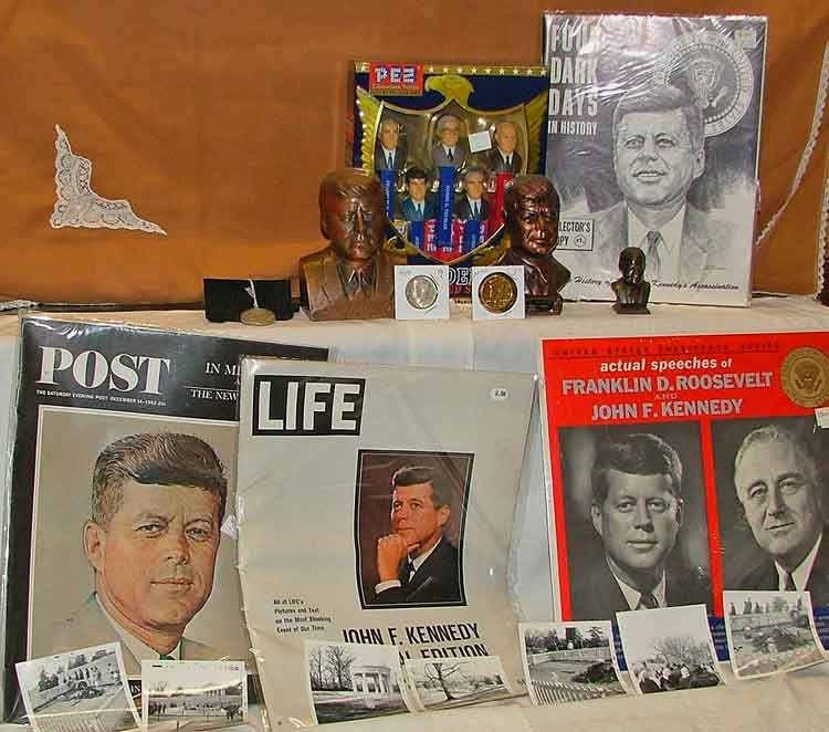JFK Memorabilia including magazines, tokens, small busts and figurines, banks, PEZ Presidents Collection, Vinyl Record of actual speeches of FDR and JFK, actual photos of his grave site taken in March/April 1964