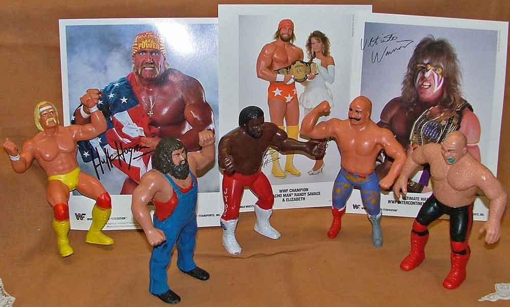 "Wrestling figures including Hulk Hogan, Hillbilly Jim, Junkyard Dog, Iron Sheik, George ""The Animal"" Steele"