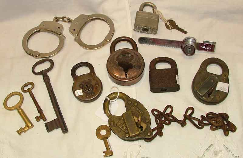 Variety of locks including RR locks (B& O, PARR, Southern Rio Grand Pacific, a showcase lock and even handcuffs