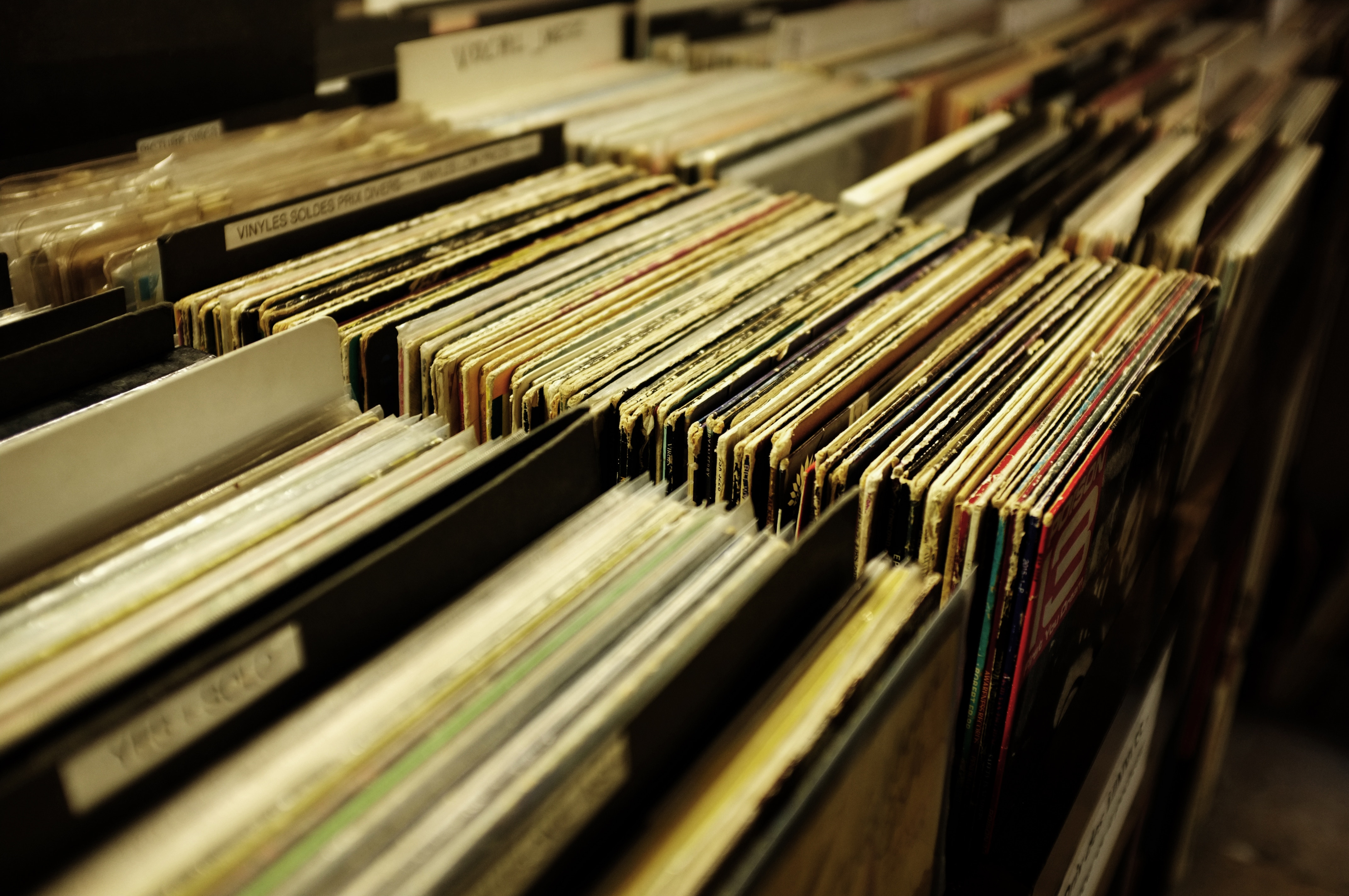 old record albums in bins from unsplash.com