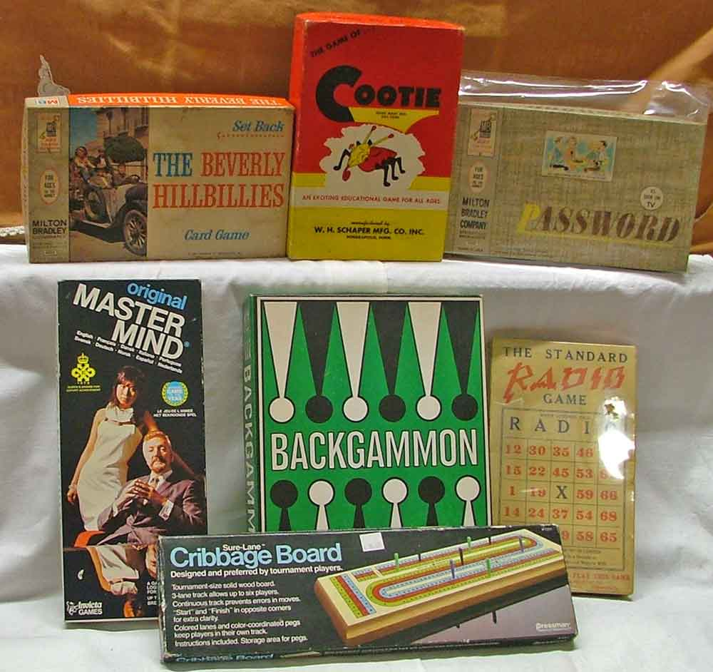 Just a few of the many board games available at Bahoukas in Havre de Grace including: Beverly Hill Billies card game, Cootie, and Password; as well as Master Mind, Backgammon, Radio and Cribbage!