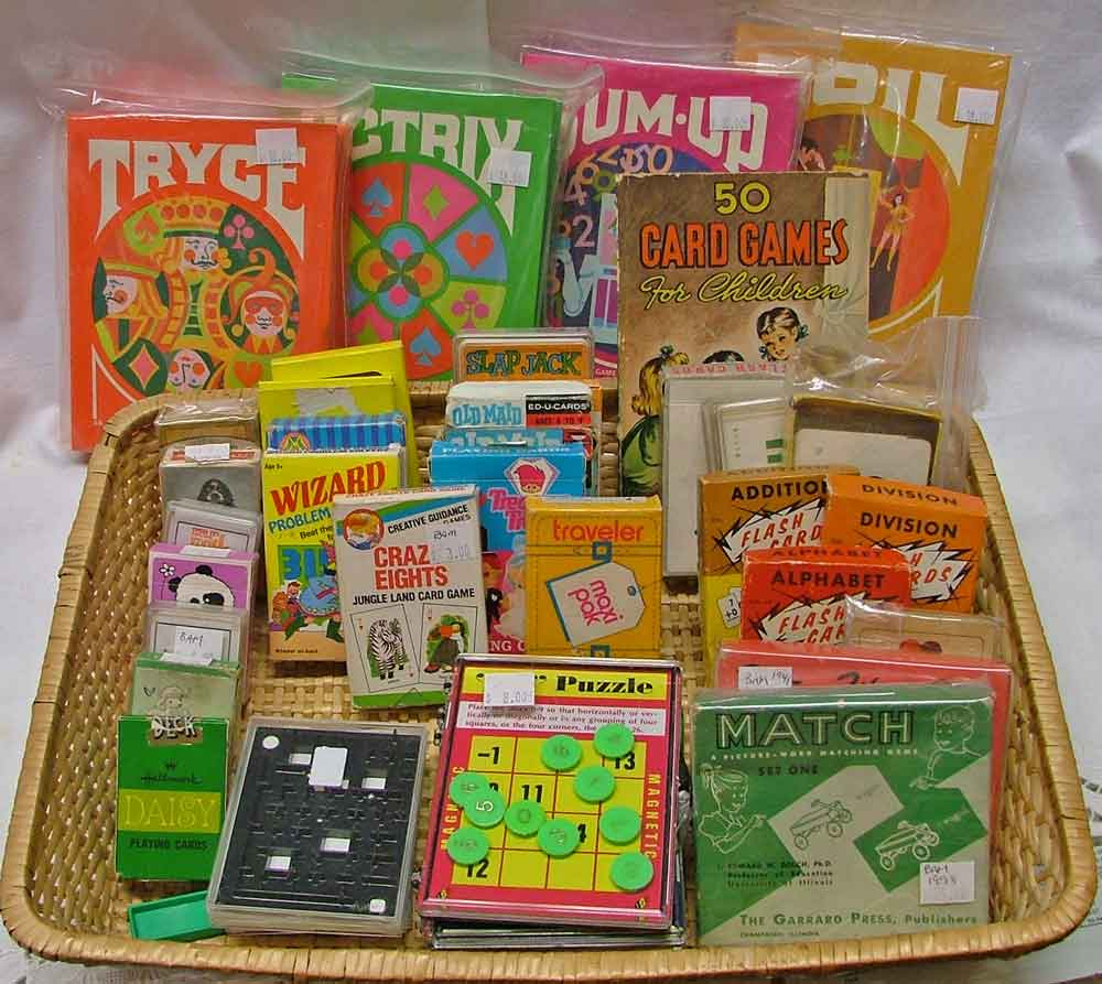 Variety of card games for holiday gift giving from Bahoukas Antiques!