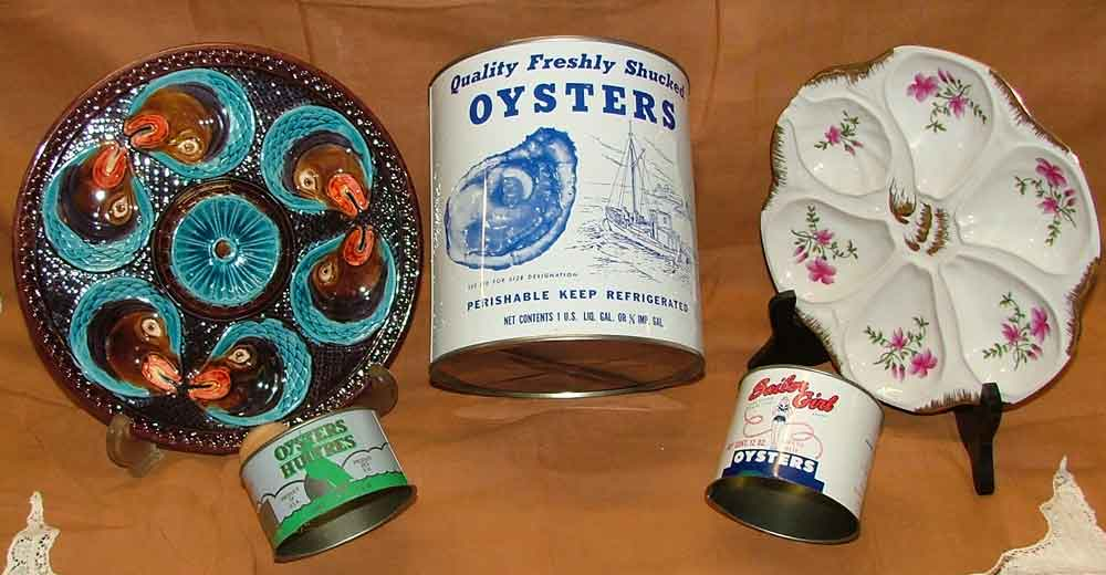 Oyster Platters and several oyster tins for the collector available at Bahoukas in Havre de Grace, MD
