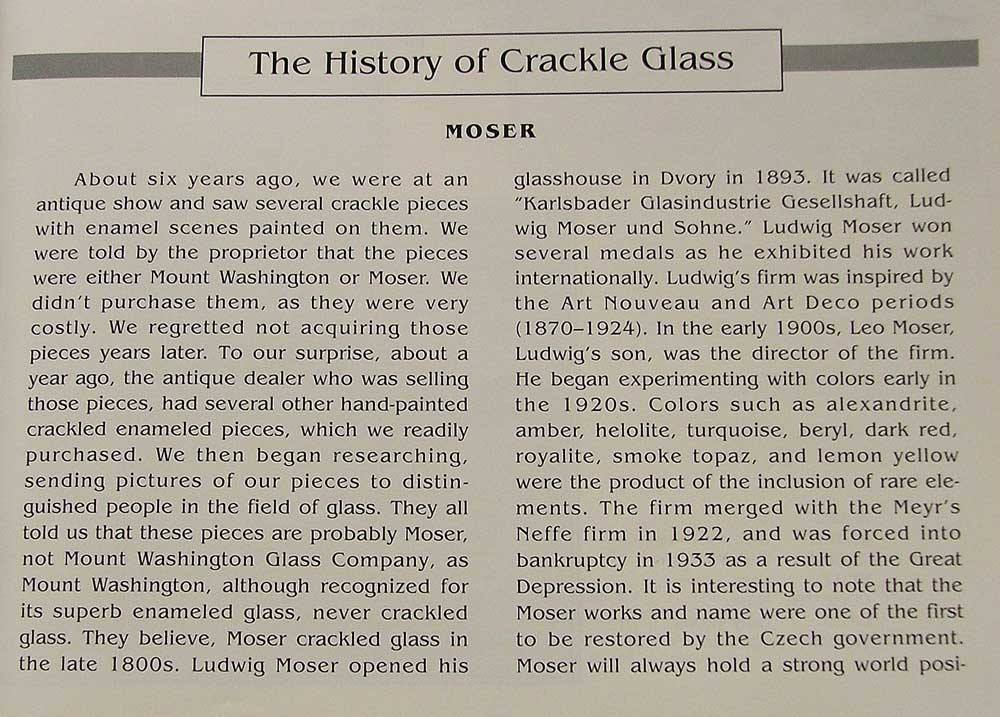 Text with a bit of HIstory about Crackle Glass