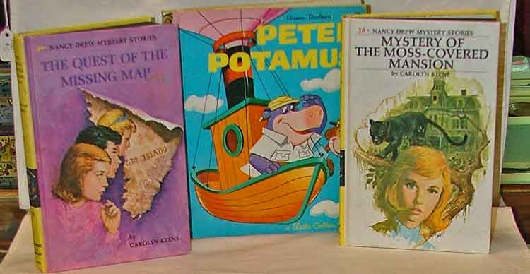 Collectible Books at Bahoukas Antique Mall include Nancy Drew and Peter Pottamus