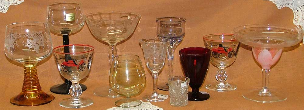 beautiful stemware from etched and ruby glass to wine stemware and cordials, even brandy snifters - wonderful choices at Bahoukas in Havre de Grce