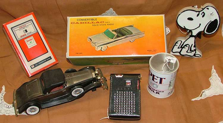 1960s transistor radios came in all sorts of shapes - cars, gas pumps,Snoopy, even a phone and Pet milk can - all at Bahoukas in Havre de Grace, MD