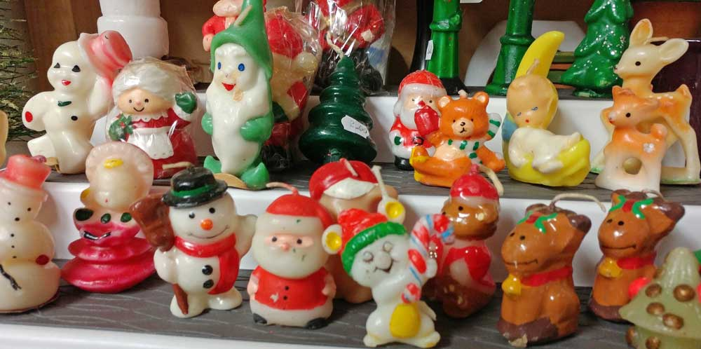 Collectible Santa candles at Bahoukas Antiques in Havre de Grace