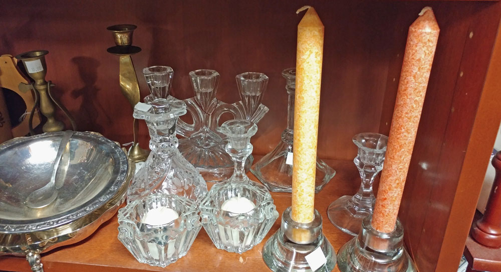 Sampling of candle holders at Bahoukas
