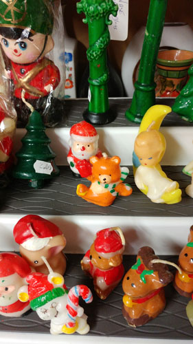 small Christmas figure candles at Bahoukas Antiques