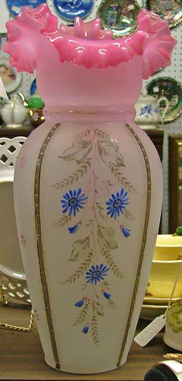1800s Victorian Vase, pink with blue flowers, handblown glass at Bahoukas