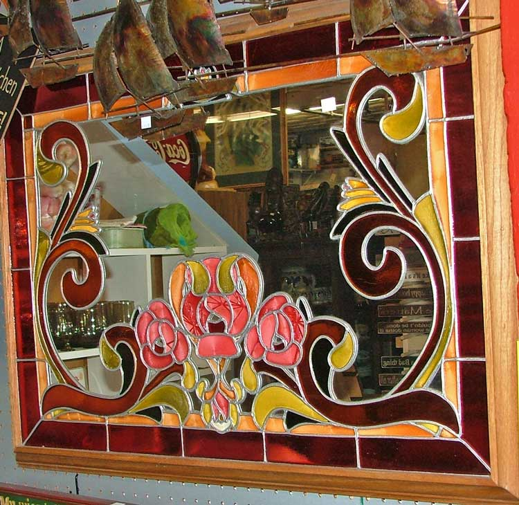 beautiful mirror with a layer of stained glass decoration at Bahoukas in Havre de Grace