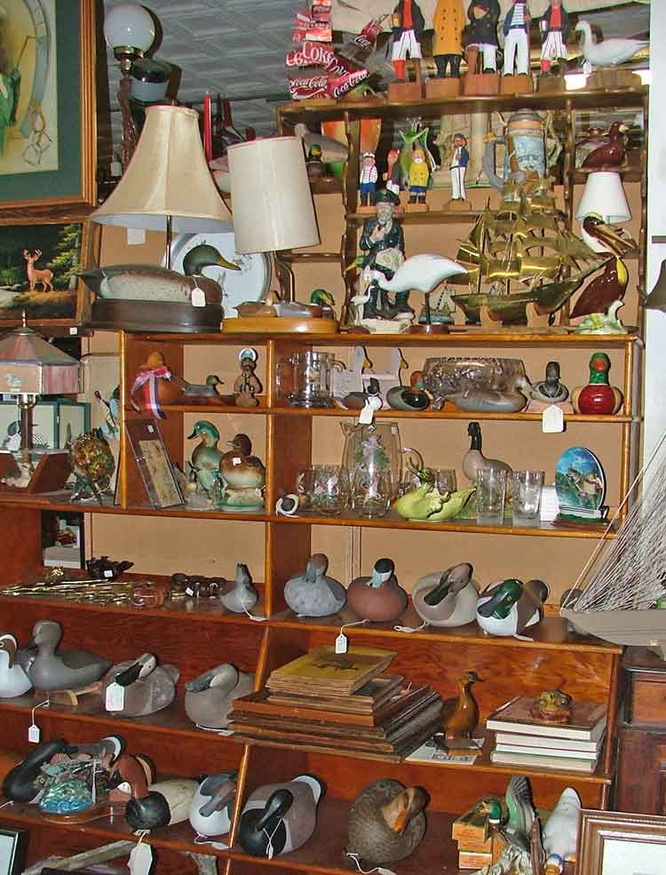 Nautical theme at Bahoukas Antiques include decoys, boat models, Old Salts of the Sea and more
