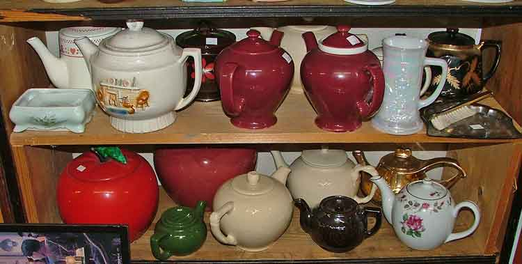 A wonderful display of just some of the many teapots available at Bahoukas Antiques in Havre de Grace