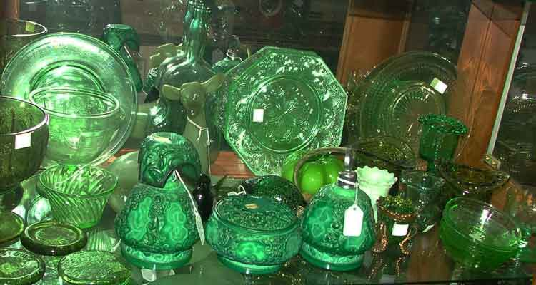 Green Depression Glass and 3 pc Czechoslovakian Malachite Perfume Set by Ingrid