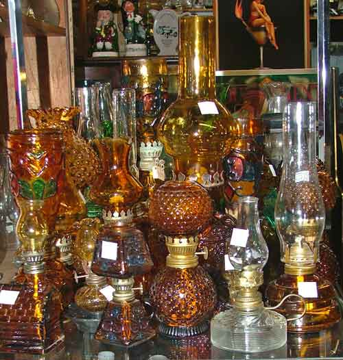 Mostly amber-colored oil lamps