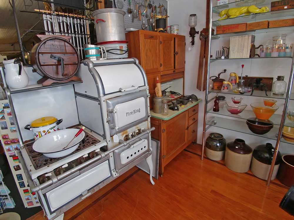 Beautiful Hoosier cupboard and Fire King Stove - both available at Bahoukas in Havre de Grace