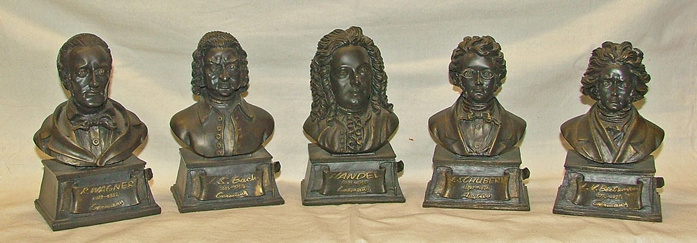 "Wagner, Bach, Handel, F. Schubert, and Beethoven busts in 5"" resin at Bahoukas"