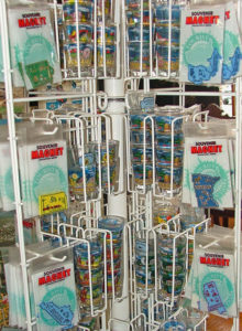A part of the rack of souvenir state magnets and shot glasses at Bahoukas Antique Mall in Havre de Grace