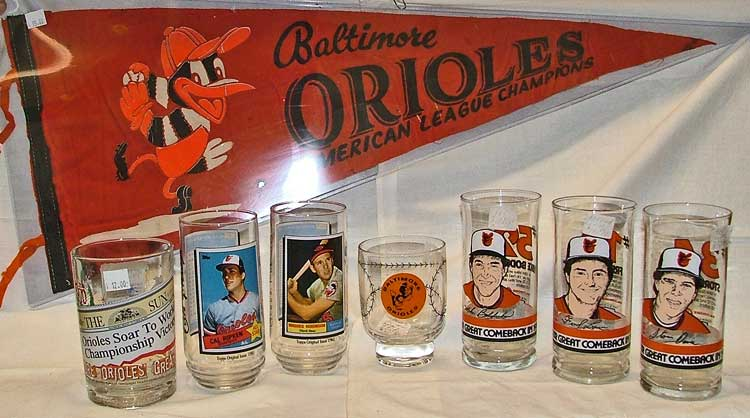 Baltimore Orioles sports memorabilia at Bahoukas Antique Mall in Havre de Grace, MD