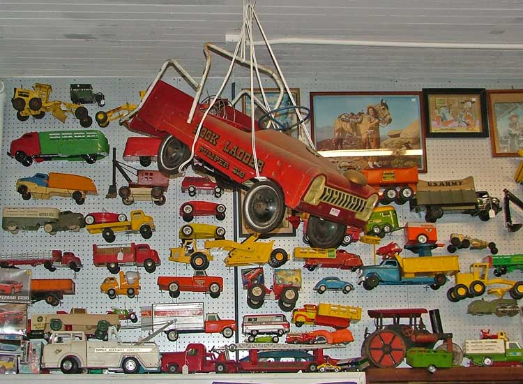 Vintage Press Steel Trucks and a Murray Pedal Car - all waiting for you at Bahoukas Antique Mall in Havre de Grace, MD