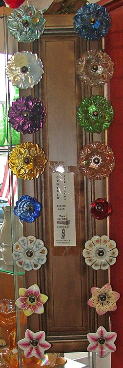 beautiful Czech Glass and Porcelain Curtain Tiebacks at Bahoukas Antique Mall in Havre de Grace