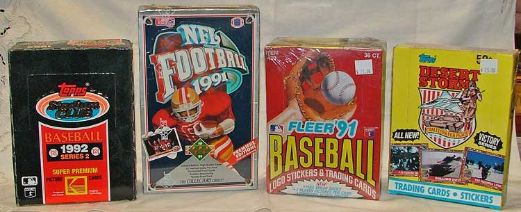 unopened boxes and single packs of sports cards at Bahouaks in Havre de Grace