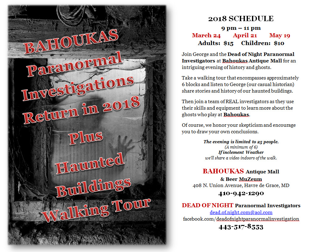 Paranormal Investigations and Haunted History Buildings Walking Tour at Bahoukas in Havre de Grace