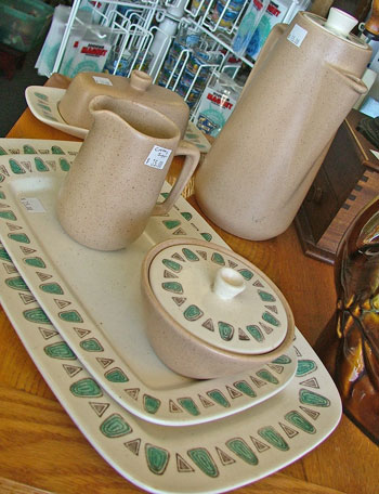 mid-century modern metlox poppytrail dinnerware pieces available at Bahoukas Antiques
