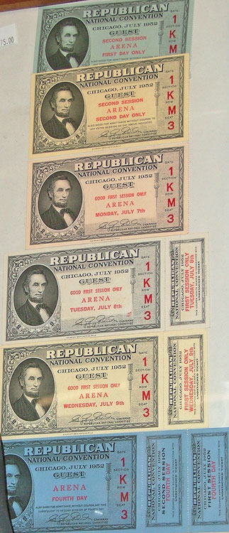 1952 National Republican Convention tickets for Chicago available at Bahoukas Antiques.