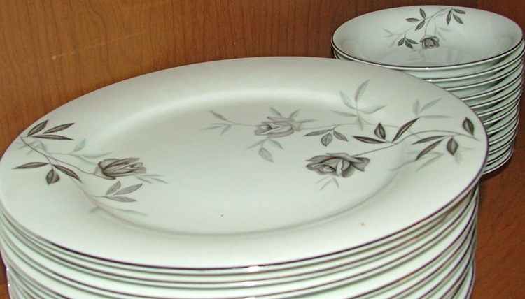 Plates and bowls of Noritake Rosamor pattern at Bahoukas in Havre de Grace