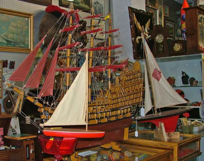 a huge Spanish galleon and a couple sailboat models - at Bahoukas in Havre de Grace