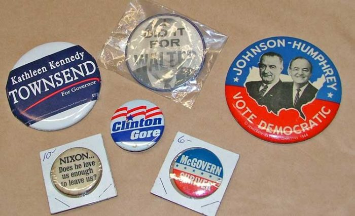 political/campaign pins available at Bahoukas in Havre de Grace.