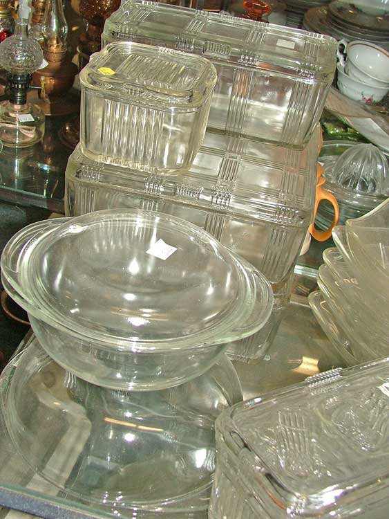 glss covered serving/freezer dishes at Bahoukas Antiques