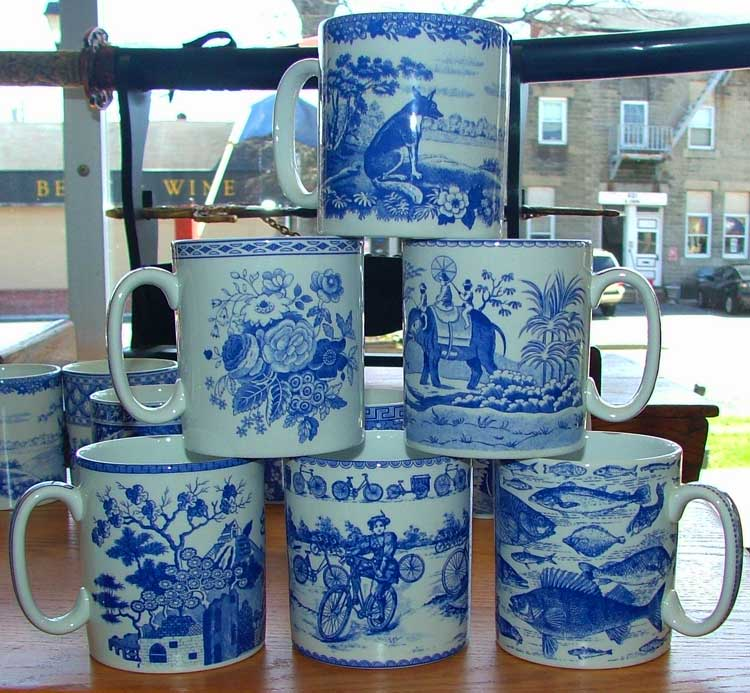 Spode Blue Room Collection mugs - beautiful - available at Bahoukas in Havre de Grace