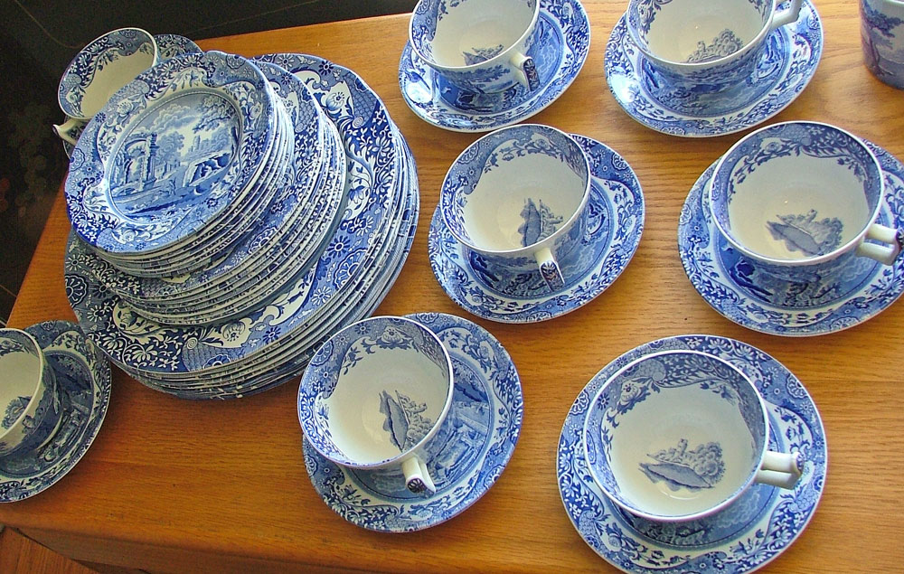 Spode Blue Room Collection Italian dishes service for 8 at Bahoukas in Havre de Grace