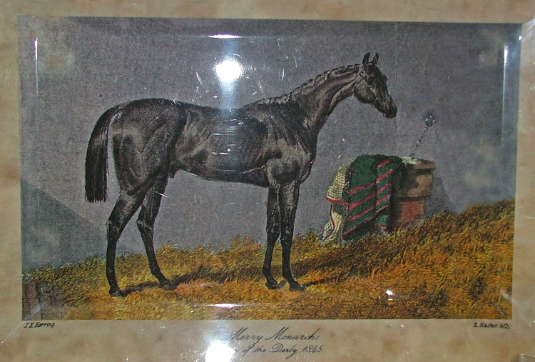 Merry Monarch print 1845 won Derby at Epsom, England