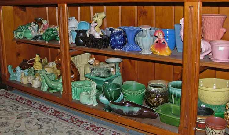colorful ceramic and pottery vases and small planters - all available at Bahoukas Antique Mall in Havre de Grace