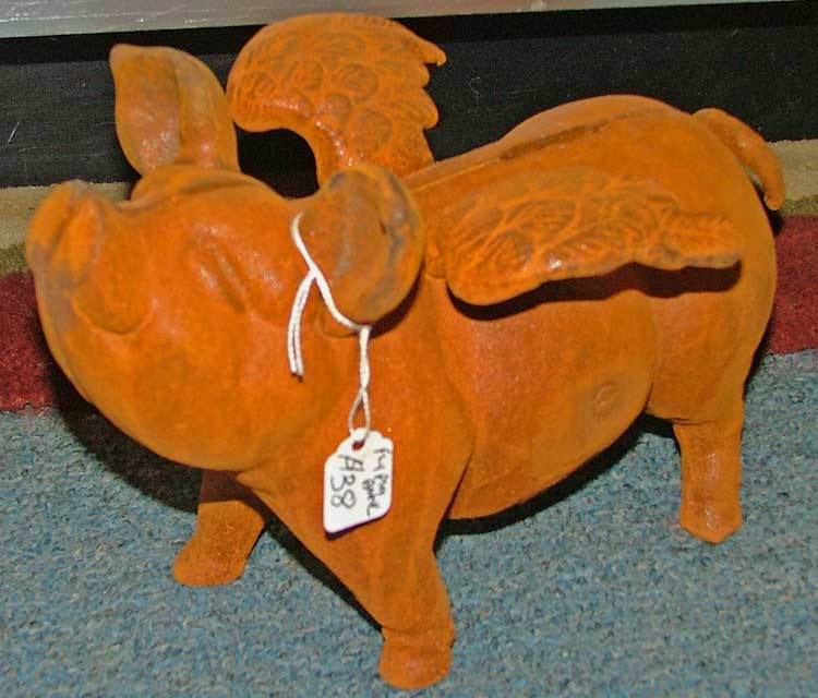 cast iron flying pig at Bahoukas in Havre de Grace