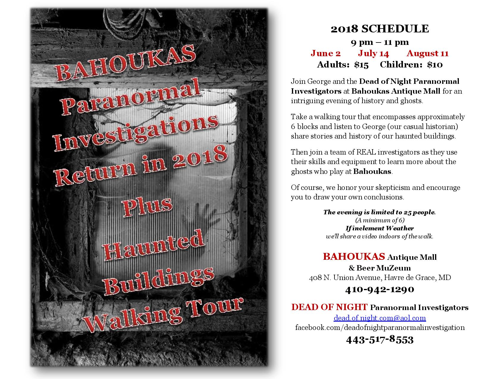 Paranormal Investigation and Haunted Buildings Walking Tour at Bahoukas in Havre de Grace
