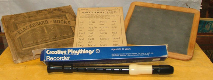 Balckboard to Books - Calkins's Reading Cards 1883, slateboard 1920s, Creative Playthings Recorder 1970s