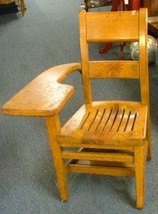 vintage 1940s oak school desk chair