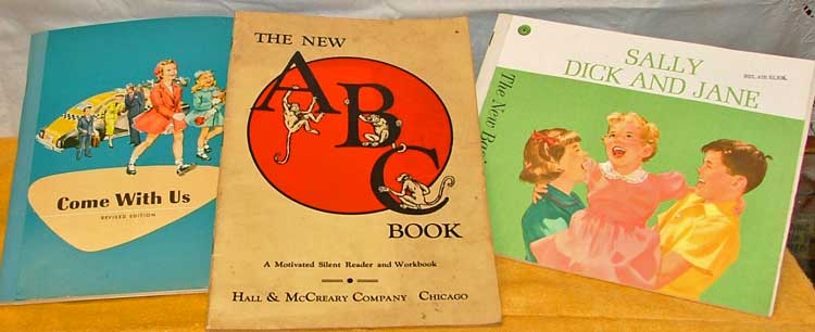 Collectible readers including Dick and Jane