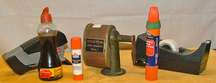 School Acessories including Boston Pencil Sharpener, stapler, tape dispenser, LePage's grip spreader mucilage (glue)