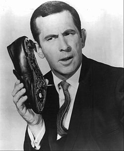 from wikipedia: Don Adams with Shoe Phone from Get Smart tv show.
