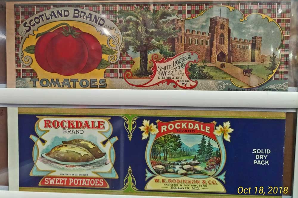 original and reproduction canning labels at Bahoukas in Havre de Grace